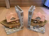 Ceramic Noah's Ark Bookends.