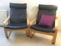 2 x IKEA Poang Armchairs - dark brown leather