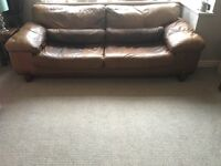 4 Seater & Single Seater distressed style brown/ pecan leather sofas
