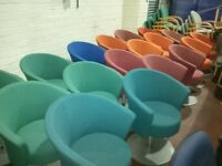 18x Tub chairs with solid trumpet base, various colours £65.00 each. Some with swivel, some without.