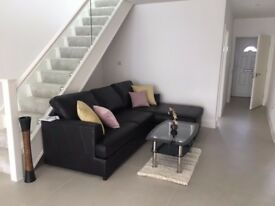 Brand New Black Leather Corner Sofa, Used for Show Home