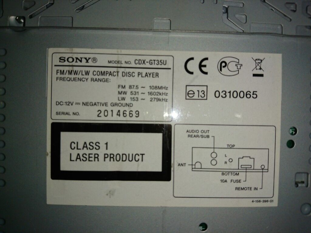 Sony CDX-GT35U CD MP3 Car Stereo with Aux Input and Full Face Off | in  York, North Yorkshire | Gumtree