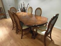 Extending Wood Dining Table and 6 Chairs