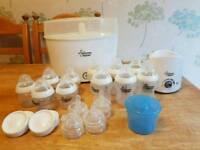 Baby bottles and sterliser, bottle warmer and flask