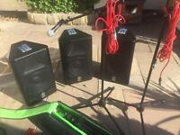 Yamaha PA System complete with leads microphones leads , boom stands and cases.
