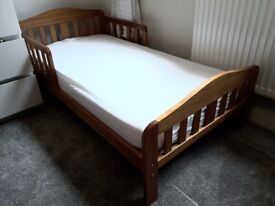 Wooden Antique Pine Toddler Bed and Mattress Great Condition Hardly Used