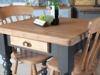 Pine Rustic Shabby Chic Kitchen Table & Two Solid Beech Country Chairs