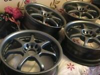 Japan racing alloys, 17 inch, recently refurbished plus new stainless valves fitted