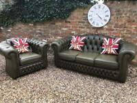 County green chesterfield sofa suit. Can deliver