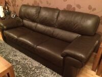 3 Seater Sterling Italian leather Sofa - Dark Brown