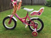 """Pink Raleigh Molli Kids Girls Bike - 14"""" wheels with stabilizer and Doll carrier seat"""