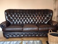 Sofa - real leather, high-backed, Chesterfield style sofa in good condition
