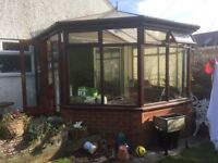 Free hard wood conservatory, double glazed, all windows and doors in good working order