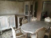 Italian pickle pine furniture. Table six chairs. Glass tall unit . Two smaller cabinets. £450