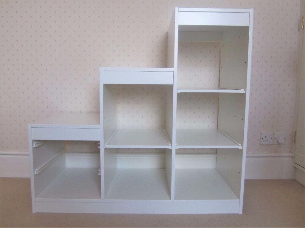Ikea trofast white storage unit 4 extra shelves for Ikea storage bin unit