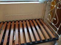 White company single metallic bed frame