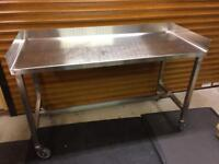 Stainless steel bench.