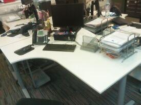 Curved / Corner Office Desks in White, Height Adjustable