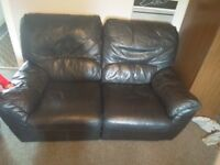 Black leather recliner sofa two seater