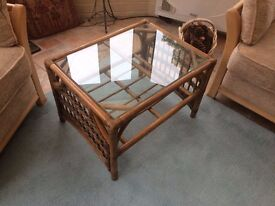 Bamboo & Wicker Glass Topped Coffee Table, as new