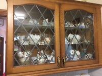 Oak leaded glass high level cabinet