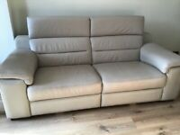 Leather 3 seater sofa, armchair and storage footstool