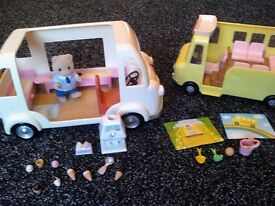 sylvanian families ice cream van with seller figure plus school bus