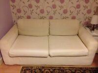 Attractive cream fabric sofa bed
