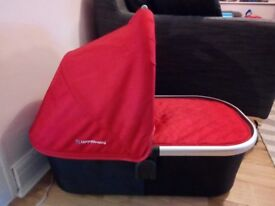 Uppababy Bassinet Pram Carrycot. Red with hood and raincover