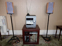 AIWA stereo system with Sony speakers and Cabinet
