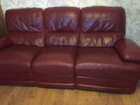 Real leather Recliner 3 Seater sofa
