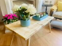 Handmade Natural Industrial Rustic Wooden Coffee Table