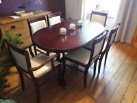 Classic Dark Wood Dining Table and 6 chairs including 2 carvers