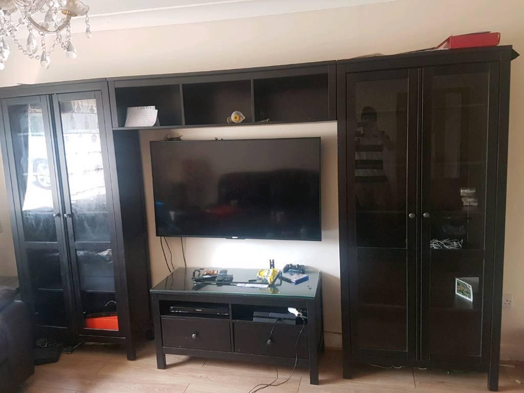 Ikea Hemnes Living Room Cabinets TV Table Bridging Shelf