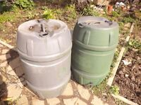 Two heavy duty water butts with taps