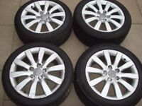 "17"" full set of 4 Genuine Audi A4 alloys 10 spoke 5x112 good tyres"