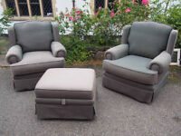 Lovely Derwent 2 Armchairs & Pouffee/Footstool with Storage Great Quality Free Local Delivery