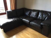 Harveys dark brown leather corner couch sofa *must go by tonight*