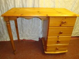 Contemporary Styled Pine Bow Fronted Desk/Dressing Table.