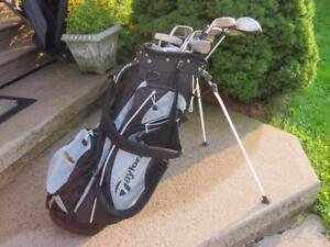 Men's Right Hand 13-pc Golf Clubs Set and TaylorMade Golf Stand Bag