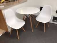 Como Round Dining Table With Beech Wood Legs And Two Matching Chairs