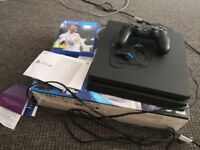 Playstation 4 slim 500gb + Fifa 18. Perfect condition. Bought May 2018!