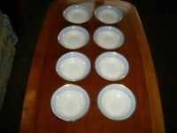 Doulton Soup/Dessert Bowls 2004 Blue And White/Gold Edge RD Bruce Oldfield 6.25cm x 8