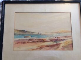 Watercolour of 'Ettrick Bay' by Scottish artist David Watts dated 1927