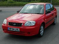 HYUNDAI ACCENT 1.3 GSi 3 DOOR, RED, 2004, 80'000 MILES, ALLOYS, PIONEER STEREO, IDEAL FIRST CAR, VGC