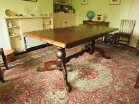 Solid pine extendable dining table, seats 6-10, dark oak stain, very sturdy