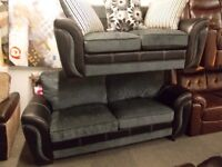 Brand new aman 3+2 sofas in grey fabric & black leatheraire (sheffield free delivery)