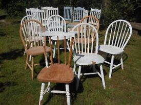 11 Various sturdy, wooden kitchen/dining room chairs - some sets.