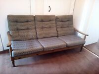Four seater Parker Knoll type wooden framed sofa - Good Condition - Free - Paisley