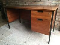 Office desk. Solid wood and steel frame. 2 drawers both functional. £20. Buyer collects